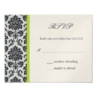 Damassé verte RSVP l'épousant vintage Carton D'invitation 10,79 Cm X 13,97 Cm