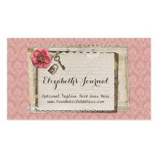 Damassé victorienne rose minable - le journal carte de visite standard