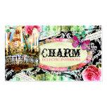 Damassé vintage minable de noir de charme de CHROM Cartes De Visite Personnelles