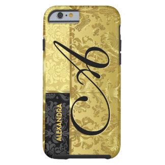 Damassés florales d'or noir et métallique coque iPhone 6 tough