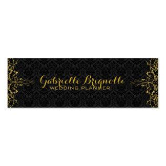 Damassés noires élégantes et cadre floral de carte de visite petit format