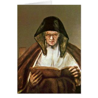 Dame âgée de lecture par Rembrandt Van Rijn Cartes