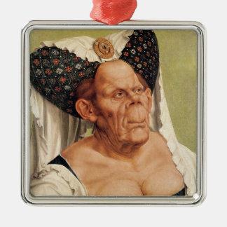Dame âgée grotesque, probablement princesse ornement carré argenté