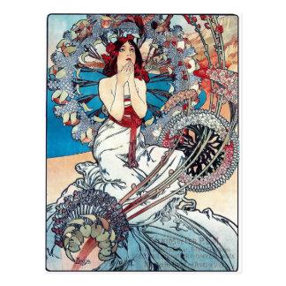 Dame d'affiche d'art déco de Mucha Monaco Monte Ca Cartes Postales