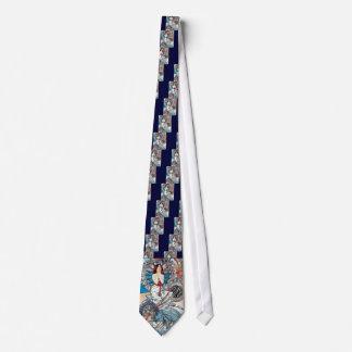 Dame d'affiche d'art déco de Mucha Monaco Monte Ca Cravate Avec Motifs