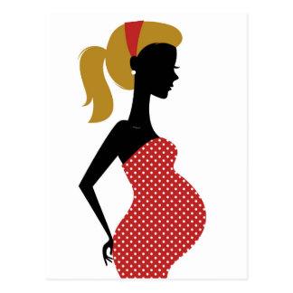 Dame enceinte en rouge avec les points carte postale