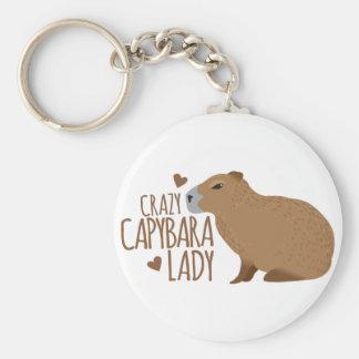 dame folle de capybara porte-clé rond