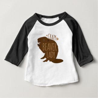 dame folle de castor t-shirt pour bébé