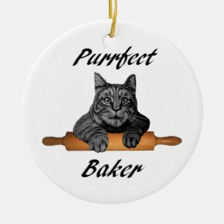 Dame folle de chat de cadeaux de chat de Baker de Ornement Rond En Céramique