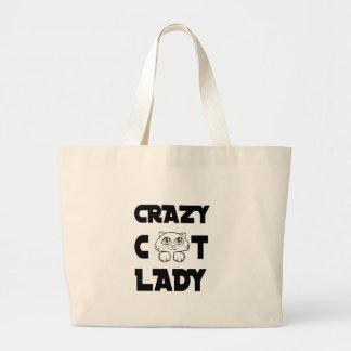 dame folle de chat grand sac