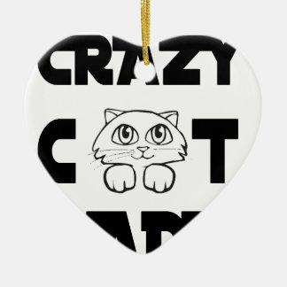 dame folle de chat ornement cœur en céramique
