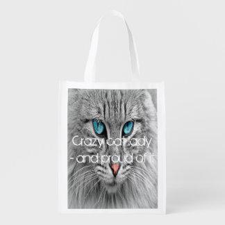 Dame folle de chat, photo faite sur commande sac réutilisable