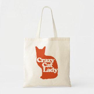 Dame folle de chat sac en toile