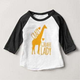 dame folle de girafe t-shirt pour bébé