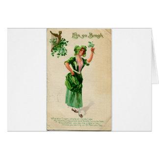 Dame originale du jour de patrick de saint en vert carte de vœux
