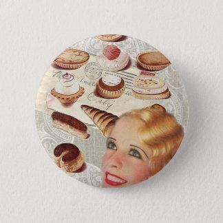 dame Paris de pâtisserie de petit gâteau de Badges
