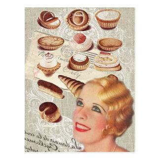 dame Paris de pâtisserie de petit gâteau de Carte Postale