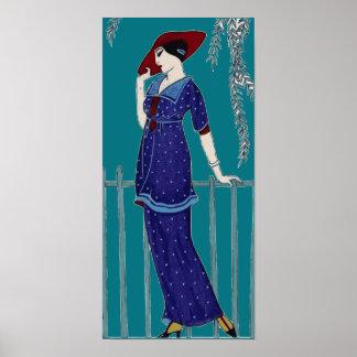 Dame parisienne vintage de mode des années 1920 posters