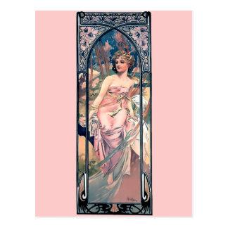 Dame romantique d'art déco de robe de rose de cartes postales