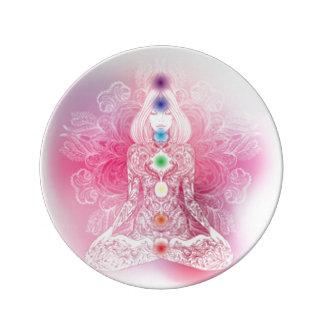 Dame rose de sept Chakras Assiette En Porcelaine