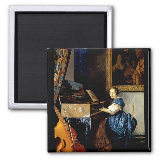 Dame sur l'épinette par Johannes Vermeer Aimant Pour Réfrigérateur