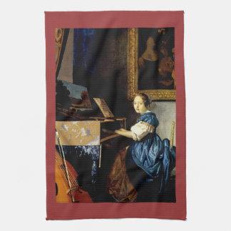 Dame sur l'épinette par Johannes Vermeer Serviettes Pour Les Mains