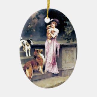 Dame victorienne avec des animaux familiers de ornement ovale en céramique