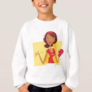 Dame vintage de cuisine : or, rouge sweatshirt