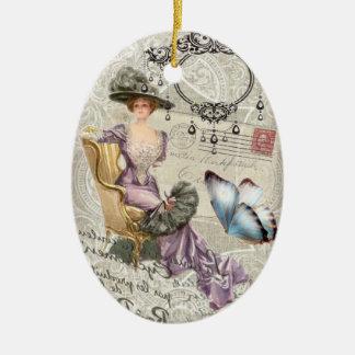 dame vintage de victorian de lustre chic minable ornement ovale en céramique