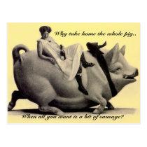 Dame vintage drôle de carte postale montant un