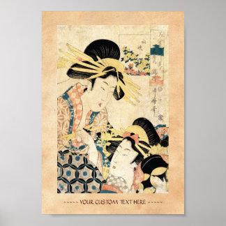 Dame vintage japonaise fraîche de geisha de l'ukiy poster