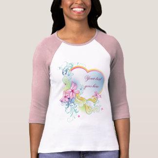 Dames 3/4 fleur et coeur raglans de vecteur de t-shirt