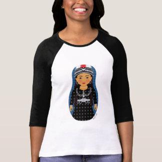 Dames assyriennes de Matryoshka de fille 3/4 T-shirt