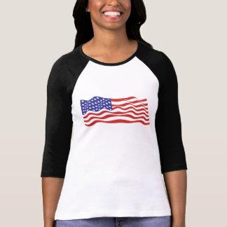 Dames de drapeau des Etats-Unis 3/4 raglan de T-shirt