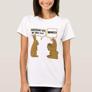 Dames drôles de lapin de Pâques de chocolat T-shirt