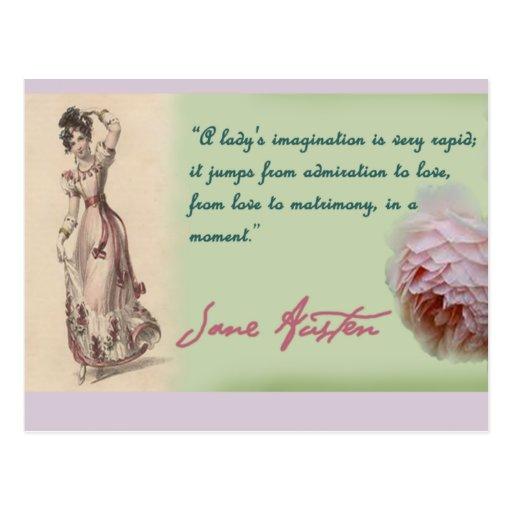 Dames imagination, citation de Jane Austen Cartes Postales