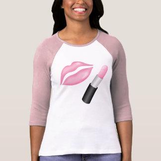 Dames roses de lèvres de Muc 3/4 raglan de douille T-shirt