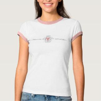 Dames roses et logo rouge de bannière t-shirt