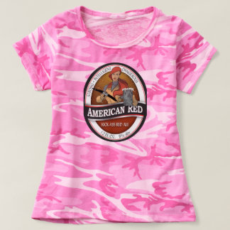 Dames roses rouges américaines de Cammo T-shirt