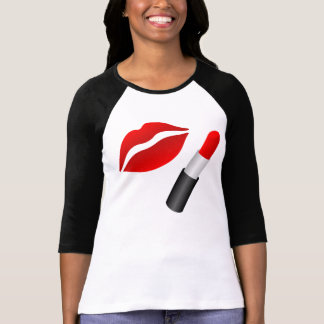 Dames rouges de lèvres de Muc 3/4 raglan de T-shirt