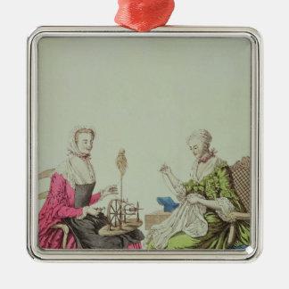 Dames tournant et cousant, c.1765 ornement carré argenté