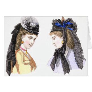 Dames victoriennes dans des chapeaux - carte vinta