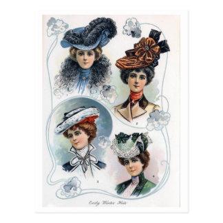 Dames vintages en carte postale de chapeaux