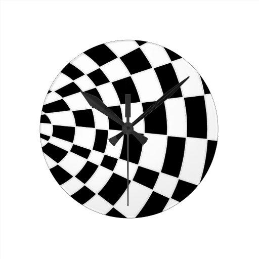 Damier à angles noir et blanc horloges murales