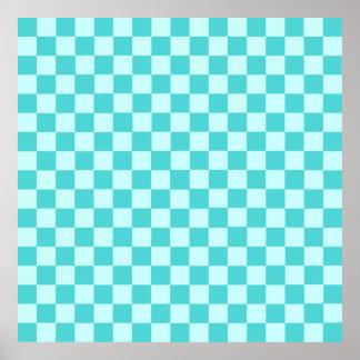 Damier bleu de classique de combinaison posters