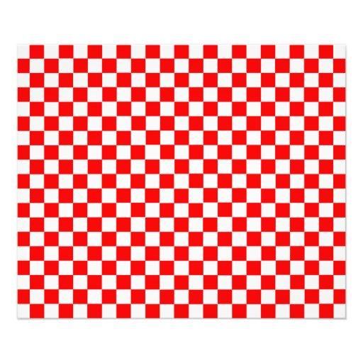 Damier classique rouge et blanc photo d'art