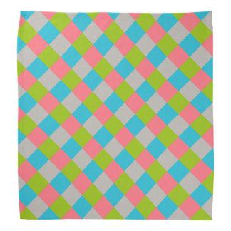 Damier de gris de rose de vert bleu bandana