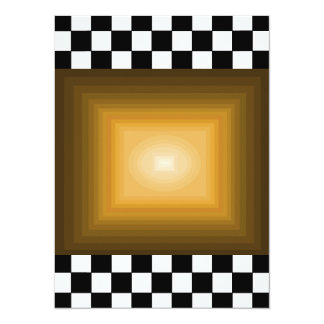 Damier du hippie B/W d'or de petit pain de la Carton D'invitation 13,97 Cm X 19,05 Cm