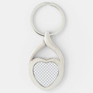 Damier gris-clair porte-clé argenté cœur torsadé
