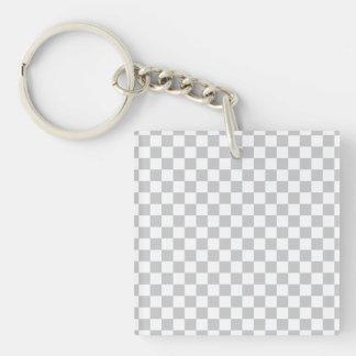 Damier gris-clair porte-clé carré en acrylique double face